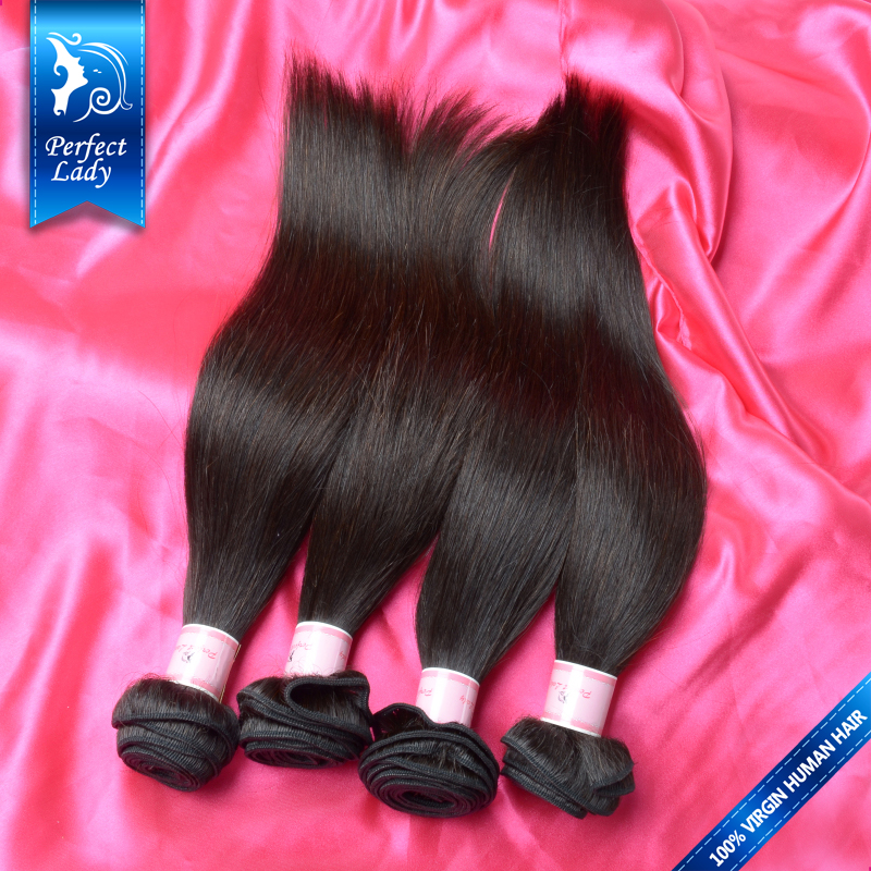 Perfect Lady indian straight hair 10pcs natural black human hair weave sale wholesale unprocessed virgin indian hair straight(China (Mainland))
