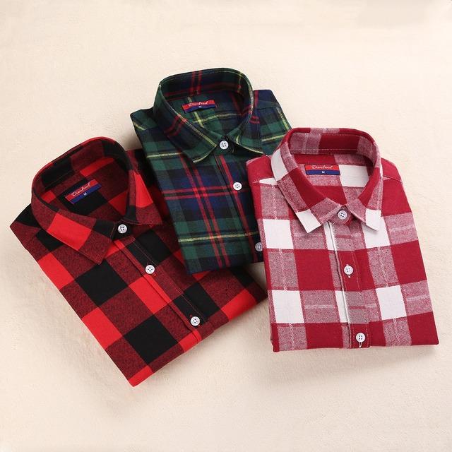 Flannel Winter Plaid Shirt Женщины Верхs Turn-down Воротник Женщины рубашка Длинный ...