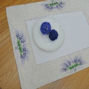 "Embroidery table linen country living lavander table MAT 28X42CM(12X18"")OBLONG ,Drop Shipping(China (Mainland))"
