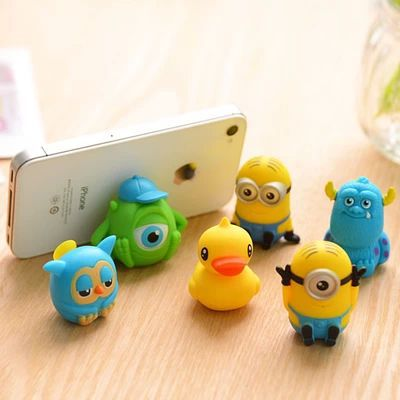 2014 New Fashion Universal Silicone Mobile Phone Holder Mini Desk Station Car Cartoon Anime Sucker Stander for Cell Phone A345(China (Mainland))