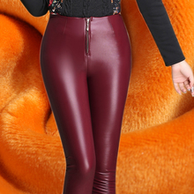 Winter Women Pants 2015 Warm Plus Thick Velvet PU Leather Pants Big Yards Slim Zipper Stretch Pants Feet Pants Female Trousers(China (Mainland))