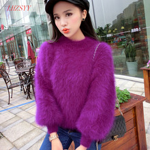 New autumn and winter long-haired Mink Cashmere thick warm Female round neck solid color knit shirt  bottoming pullover Sweaters(China (Mainland))