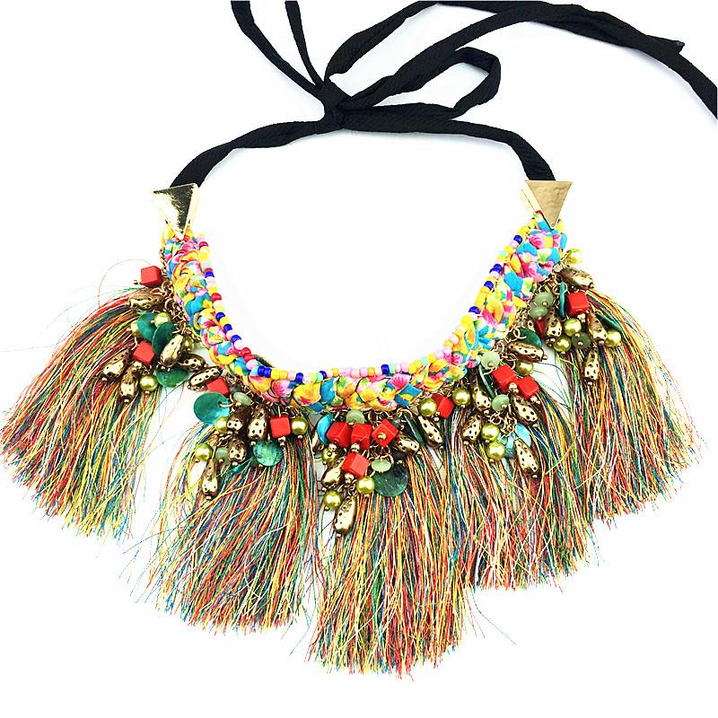Nuevo llega Bohemia hilo fresca collar de moda 2016 últimas populares mujeres o muchacha de bisutería