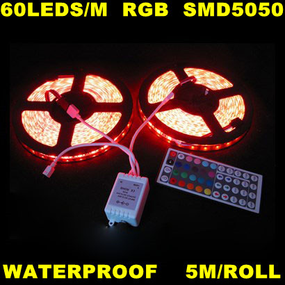 Free Shipping ! Waterproof 5M/roll 500m Flexible Led Strip Light 5050 smd Christmas String Light Rope lighting RGB Dream Color(China (Mainland))