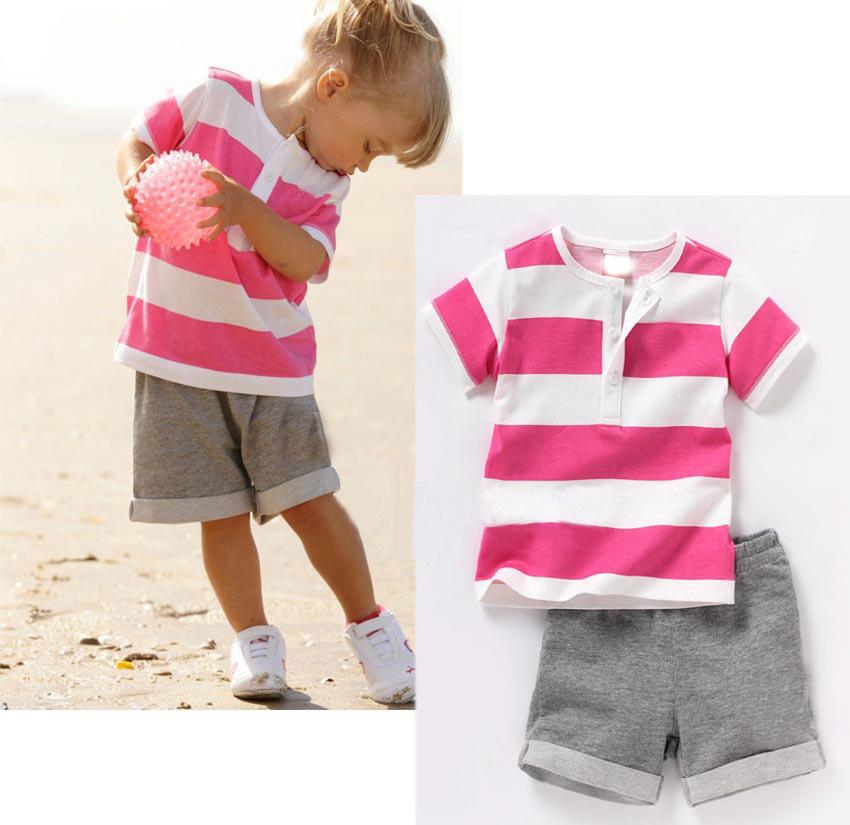 retail 2014 summer new design children clothing set for baby girl red white striped shirt gray