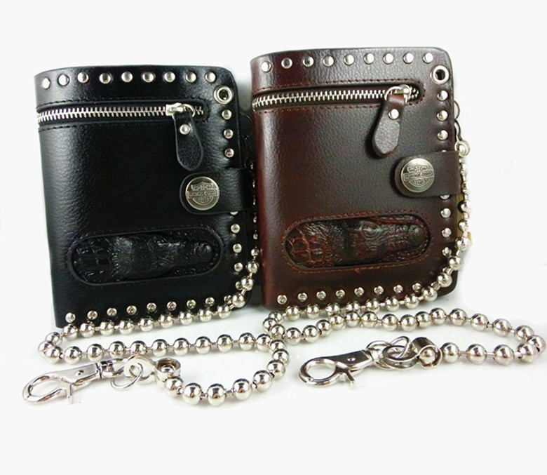 QB041 Promotion New 2014 Casual punk rock vintage Skull retro Genuine leather men's wallet & purse short fold wallets(China (Mainland))