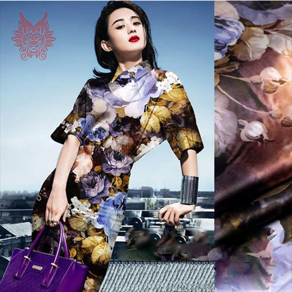 2015New luxury abstract floral digital print spandex/silk fabric for dress,shirt,heavy charmeuse silk yarn19mm free ship SP1317