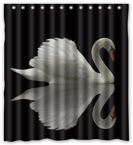 "Custom Design White Swan Waterproof Polyester Fabric Shower Curtain 66"" x 72"" Free Shipping(China (Mainland))"