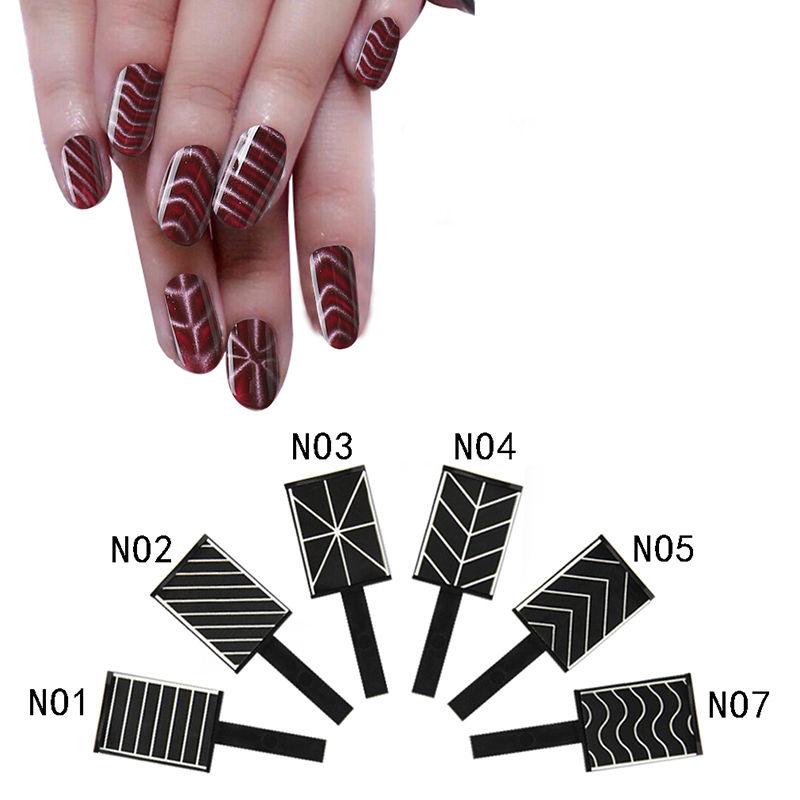 6 Patterns Chevron Magic Magnet Stick For Cat Eye 3D Effect Magnetic Nail Art Tips Gel UV Polish Tool Manicure