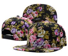 2015 top brand Floral Script Snapback Caps hip hop white flower print cap fashion mens women snap backs hats gorras baseball hat(China (Mainland))