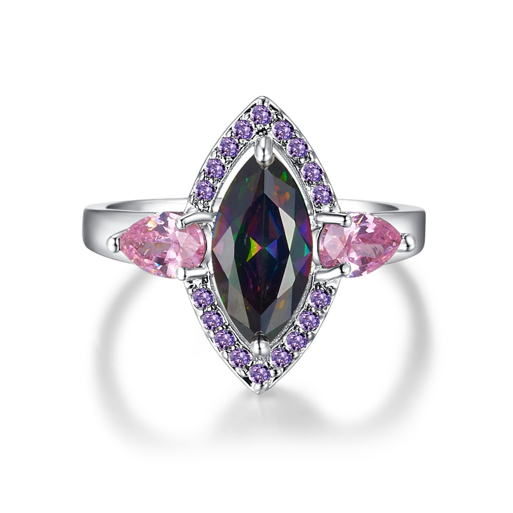 JROSE New Fashion Jewelry Wedding Party Rings for Women Lady Rainbow Topaz Amethyst Pink Topaz 18K White Gold Ring Wholesale<br><br>Aliexpress