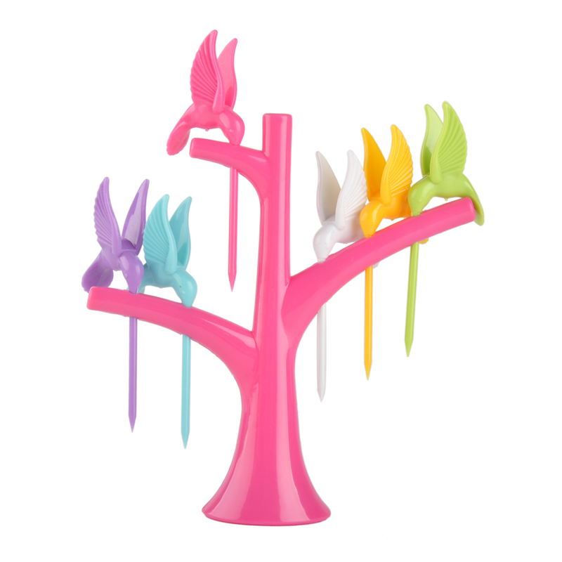 Tableware Dinnerware Sets Fruit Fork Toothpick Set Kitchenware Tools 6 Birds On The Tree Creative Fashion Dinner Service 4 Color(China (Mainland))