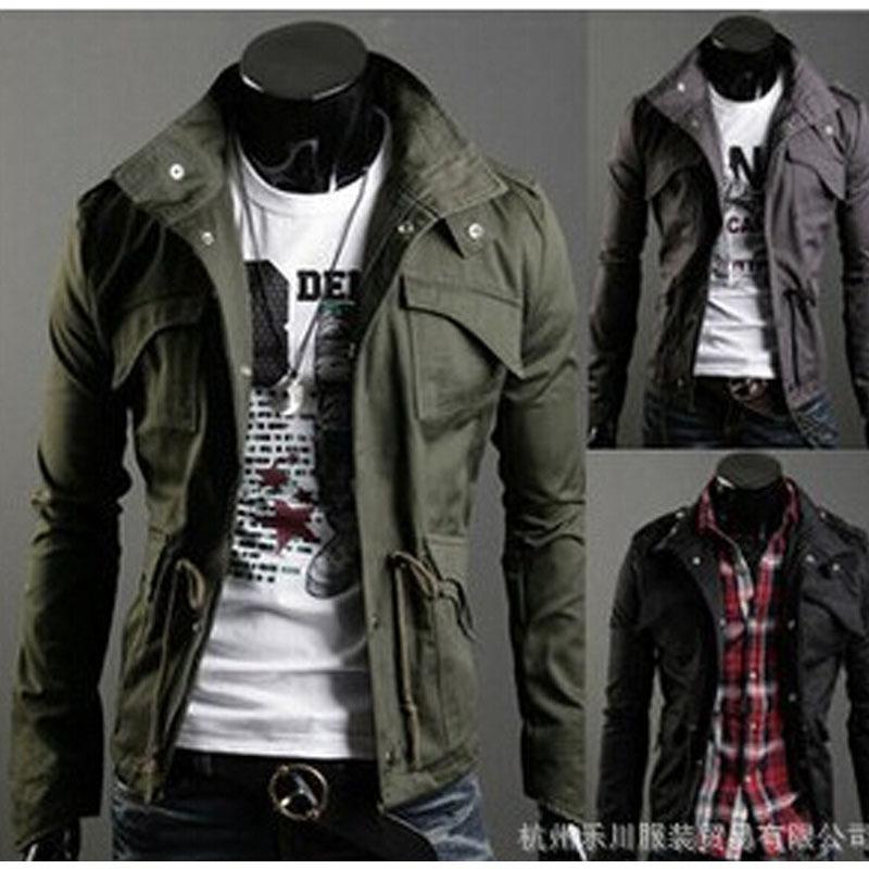 Men Male Coats Jackets 2015 New Slim Sexy Top Designed Mens Jacket Coat Colour:Black,Army green,,Wholesale&Retail, Hot Men Coats(China (Mainland))