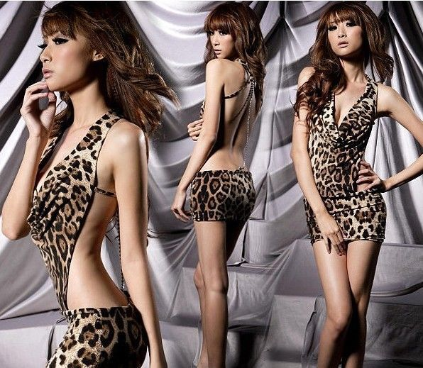Lady Leopard Costume Sexy Lingerie Deep V Neck Backless Club Mini Dress 71948(China (Mainland))