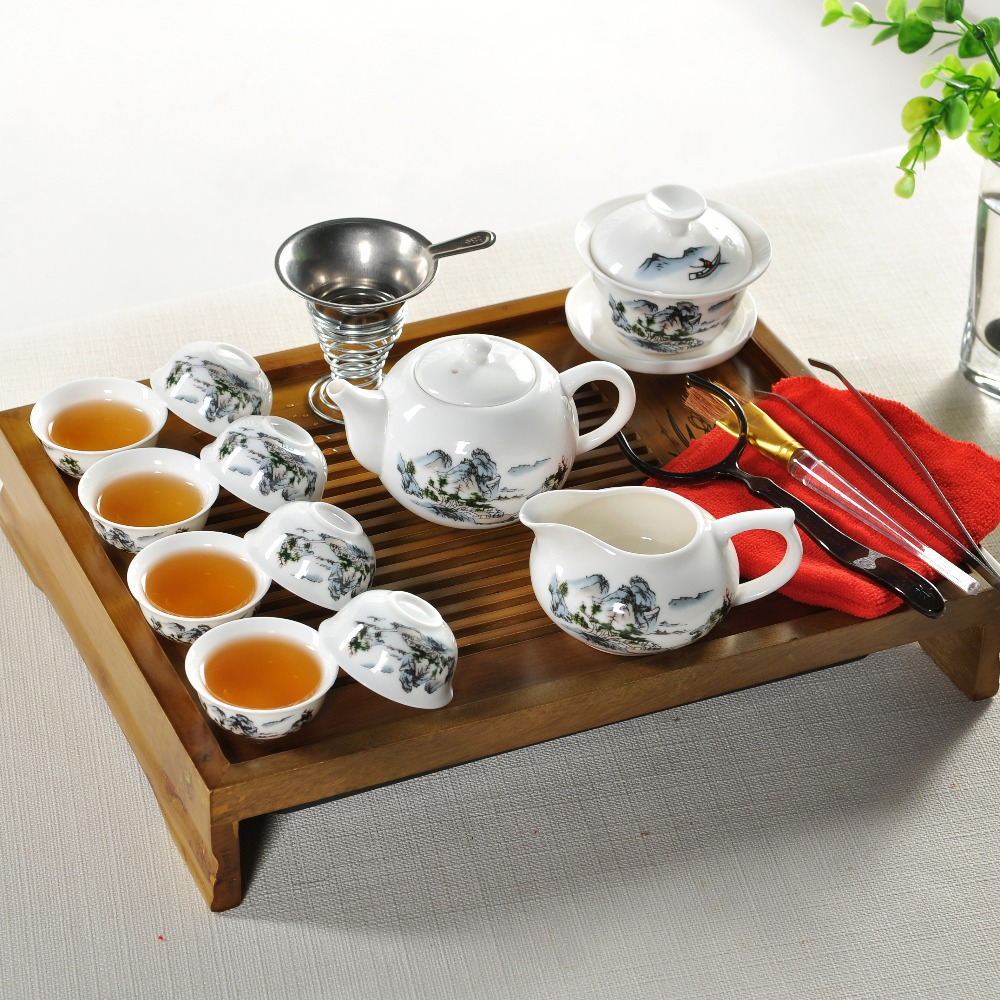 Free shipping Chinese white teapot teacup special offer Chinese porcelain tea set ceramic set solid wood