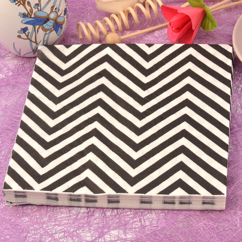 20pcs / lot*2 Color napkin black and white wavy lines handkerchiefs 33cm 2ply