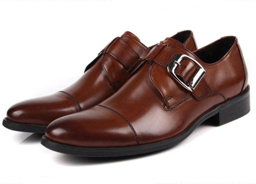 Brown tan /black 2014 new designer mens business casual shoes genuine leather dress men office safety party
