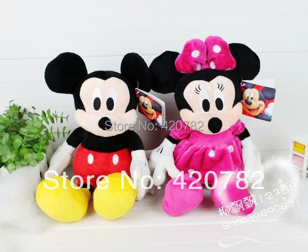 Kawaii Pink Mickey & Minnie stuffed plush toys valentine gift 28cm wholesaler wedding gift 1 pair 2 pieces set(China (Mainland))