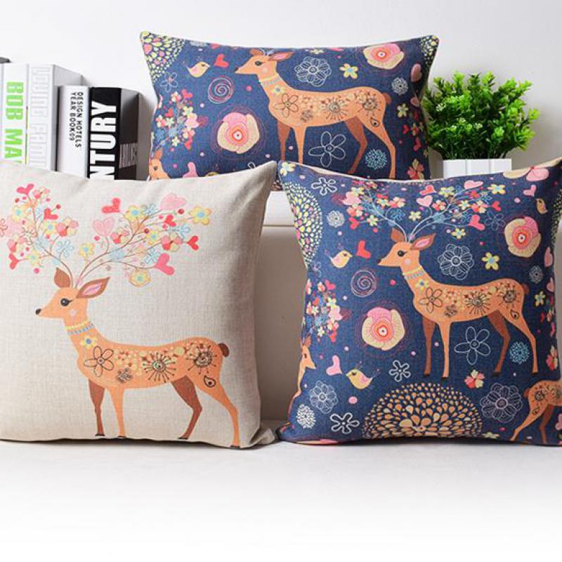 New Arrival Cute Deer Pattern Household Sofa Cotton Linen Wholesaler/office Cushion/bedding Decoration/45cm*45cm(China (Mainland))