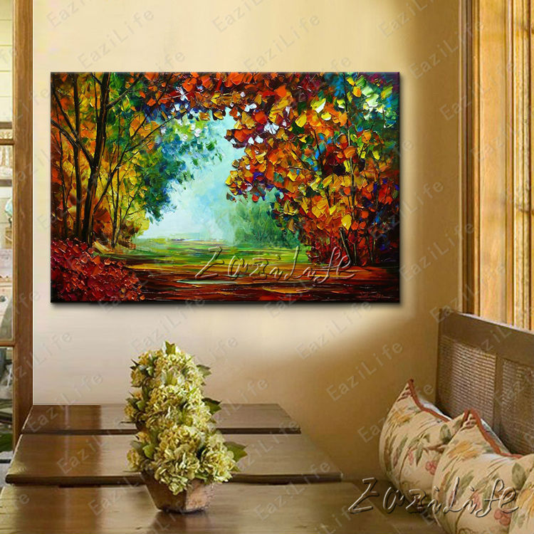 Hand painted canvas oil paintings wall pictures for living for Art painting for home decoration