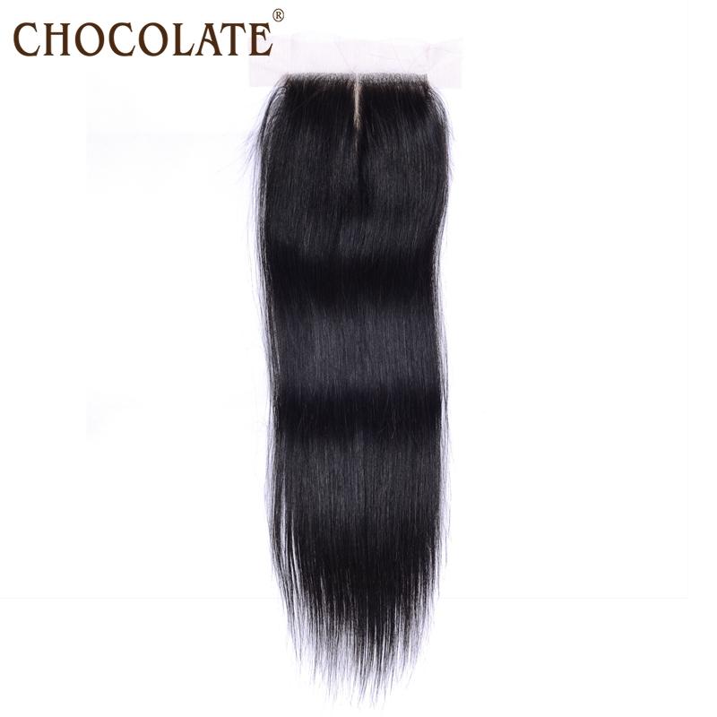 Chocolate Virgin Brazilian Silk Base Straight Closure Free Middle 3 Part Bleached Knots,4*4 Brazilian Human Hair Silk Closure