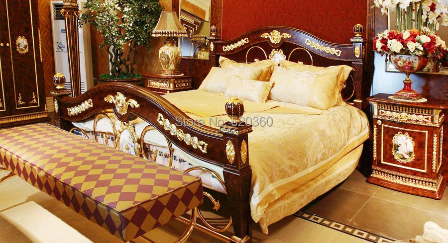 Luxury European Style Woodcarving Bedroom Set Foor Door Wardrobe Coat Rack