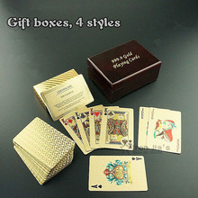 New 24K Karat Gold Foil Plated Game Poker Casino Playing Card With Wooden Box  Special Gift Texas Hold'em Good luck(China (Mainland))