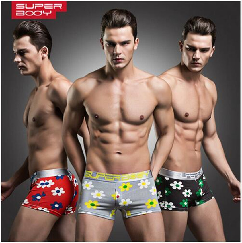 Mens Sexy Low Waist Print Flower Boxer Short Cotton Comfortable Mens Boxer Short Trunk Brand Breathable Men Underwear Panties(China (Mainland))