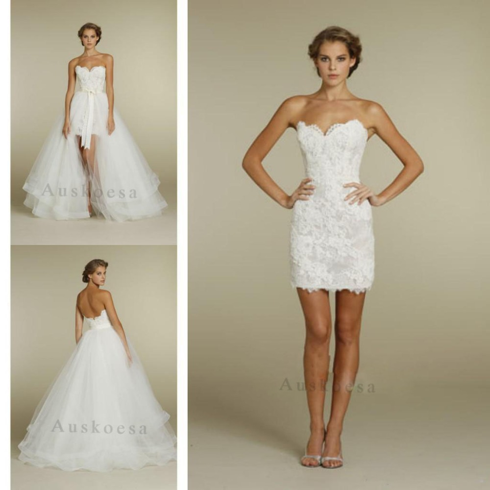 Short Wedding Gown With Detachable Train