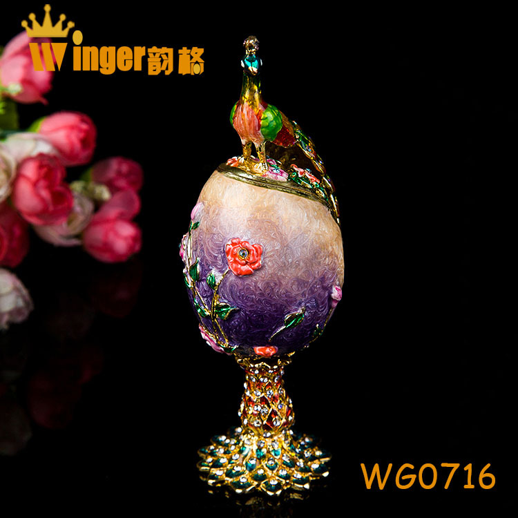 Peacock Accessory Purple Faberge Russia Eggs Jewelry Trinket Box Figurine Home Display Vintage Easter Egg Magnet Metal Crafts(China (Mainland))