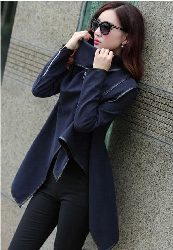 2015 Spring Fashion Women Casual Long Woolen Coat Grey / Navy Turtleneck Size M/2Xl Cape Coat Famous Brand Woolen Jacket S1104(China (Mainland))