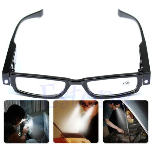 Free shiping Multi Strength LED Reading Glasses Eyeglass Spectacle Diopter Magnifier Light UP(China (Mainland))