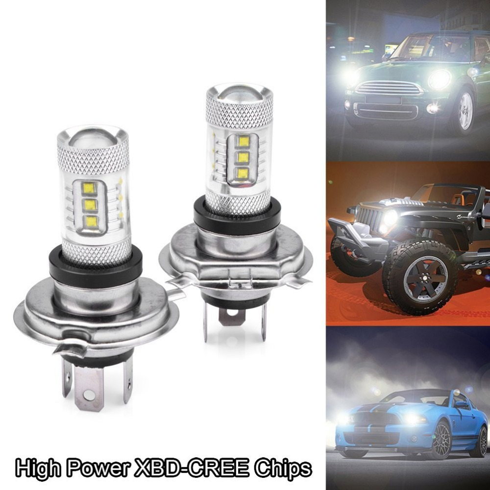 2pcs High Power Error Free 80W 6000K H4 9003 CREE LED Hi Lo Beam Head Fog