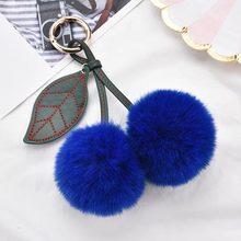 Personalizado Chaveiro Bola de Pêlo Bonito Pompom Fofo Artificial de Pele de Coelho Mulheres Saco Chave Do Carro Chaveiro Anel Titular Jóias EH315(China)