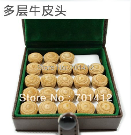 50pcs/box 8layers pigskin 13mm cheap pool billiard cue tips(China (Mainland))