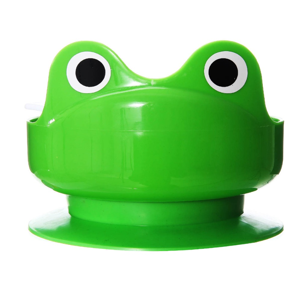 suction cup bowl more than 4 month plastic suction cup baby bowl with spoon and fork set green frog zoo baby feeding bowl set(China (Mainland))