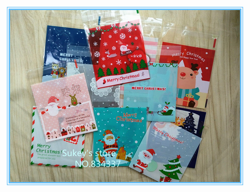 ON SALE 100pcs/lot Mixed style Merry Christmas plastic bags cookie packaging bag 10x10cm self adhesive bags free shipping(China (Mainland))