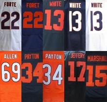 #34 Walter Payton sttiched jersey camisetas jersey 69 Allen Jersey17 Alshon Jeffery 13 Kevin blanco size M-3XL(China (Mainland))