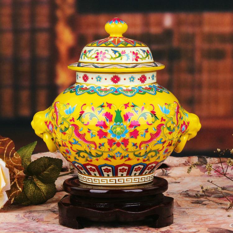 Jingdezhen ceramics factory direct enamel pot vase yellow lotus general modern fashion furniture Decoration(China (Mainland))