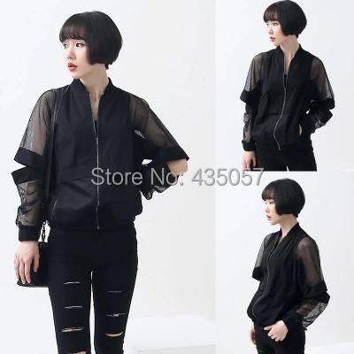Fashion Design Sunscreen See Through Bat Sleeve Jersey Clear Waterproof Jacket trasparent coat Black White Women Summer Autumn(China (Mainland))