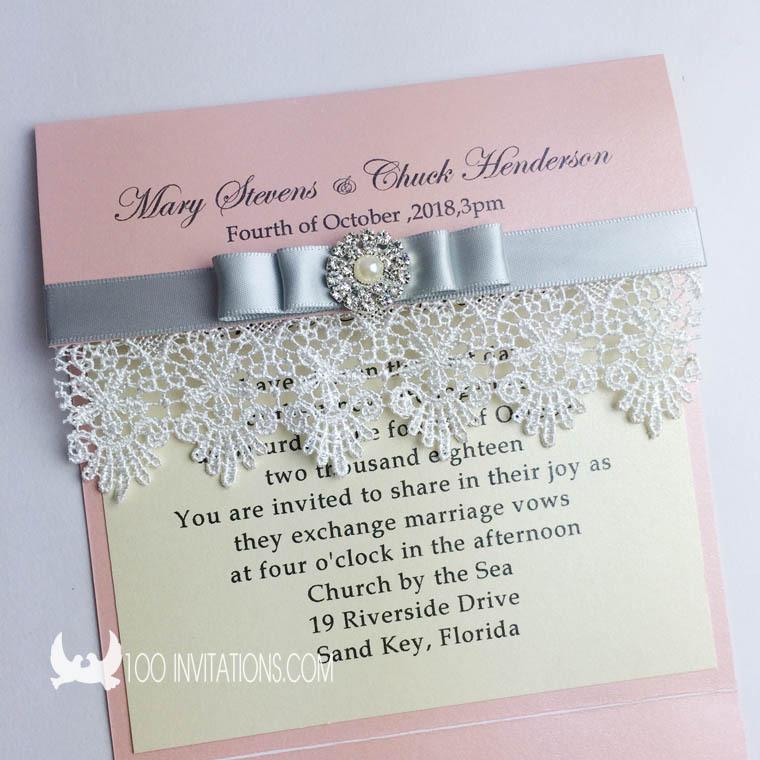 Creative Handmade Elegant Pocket Fold Wedding Invitations