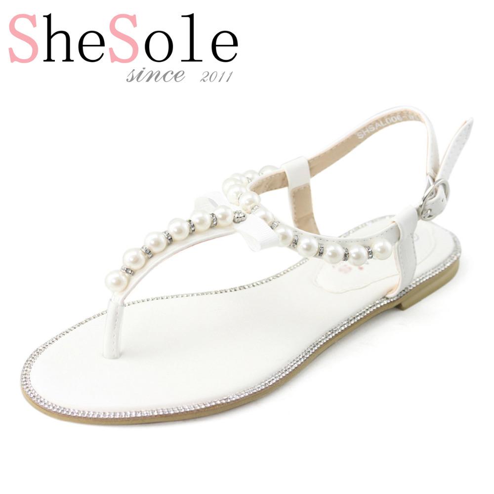 White Wedding Flat Sandals Bridal Pearl Shoes Women Flip Flops Diamond Rhinestone Pu Leather