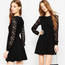 2016 new spring and slim slim long sleeved lace stitching simple temperament primer a word skirt dress