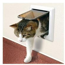 White Frame 4 Way Locking Lockable Magnetic Pet Cat Small Dog Flap Glass Door(China (Mainland))