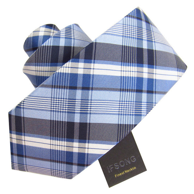 Ifsong 8cm fashion plaid male formal tie 059