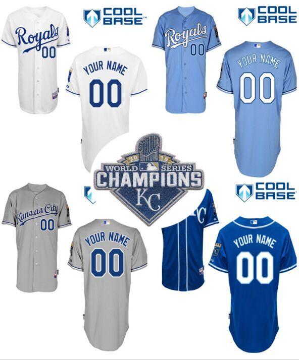2015 World Series Champions Patch Kansas City Royals Jersey Custom Baseball Jersey World Series Champions Jersey(China (Mainland))