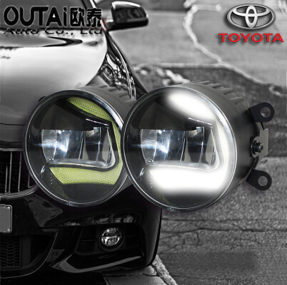 Фотография High Power Highlighted Car Fog lamps lens Fog Light LED daytime running light For Toyota Yaris 2006-16 2pcs