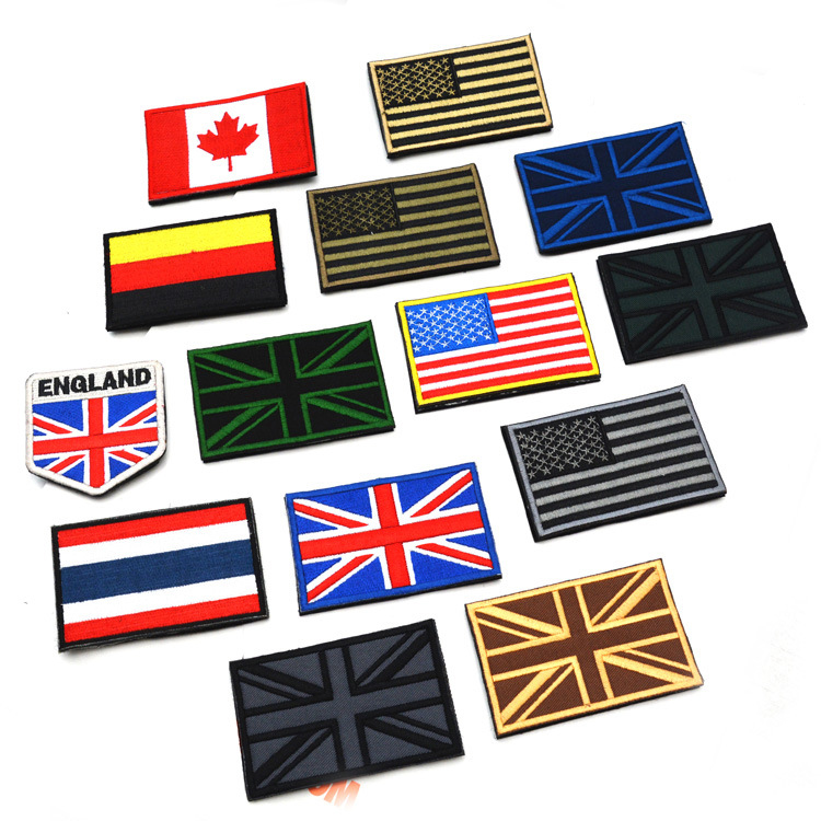 Free ship 14pcs UK Canada Germany America USA National Flag Tactical armbands Army Embroidery patches Patch Football Team Badge(China (Mainland))