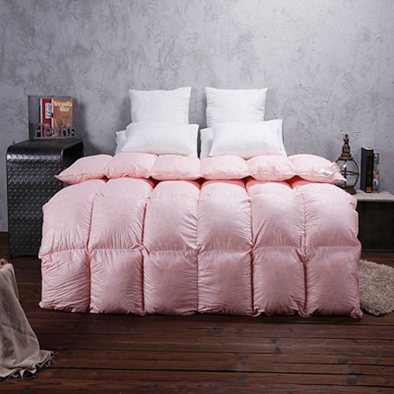 95  Goose Down Luxury white pink comforter king queen twin size quilt duvet  bedclothes blanket bedding cover. Twin Comforter Cover Promotion Shop for Promotional Twin Comforter