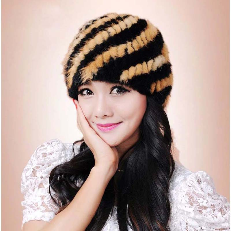 Quality imported mink casual beanie hat / sleeve head cap mink pineapple pattern knit hat(China (Mainland))